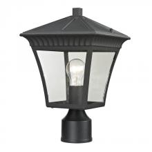Elk Cornerstone 8411EP/65 - One Light Matte Textured Black Clear Glass Post Light