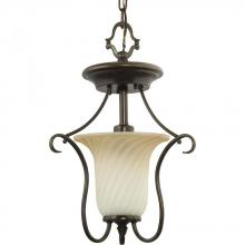 Progress P3678-77 - One Light Forged Bronze Frosted Caramel Swirl Glass Foyer Hall Pendant