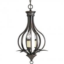 Progress P3807-20 - Three Light Antique Bronze Ivory Finish Candle Sleeves Glass Open Frame Foyer Hall Fixture