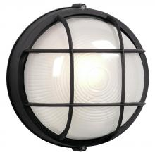Galaxy Lighting 305011 BLK - Cast Aluminum Marine Light with Guard - Black w/ Frosted Glass