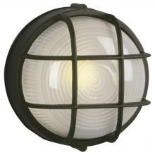 Galaxy Lighting 305012 BLK - Cast Aluminum Marine Light with Guard - Black w/ Frosted Glass
