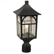 Galaxy Lighting 311373BK - Outdoor Post Lantern only - Black with Clear Seeded Glass
