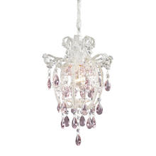 ELK Lighting 12008/1 - Elise 1 Light Pendant In Antique White And Pink Crystal