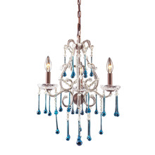 ELK Lighting 4011/3AQ - Opulence 3 Light Chandelier In Rust And Aqua Cry