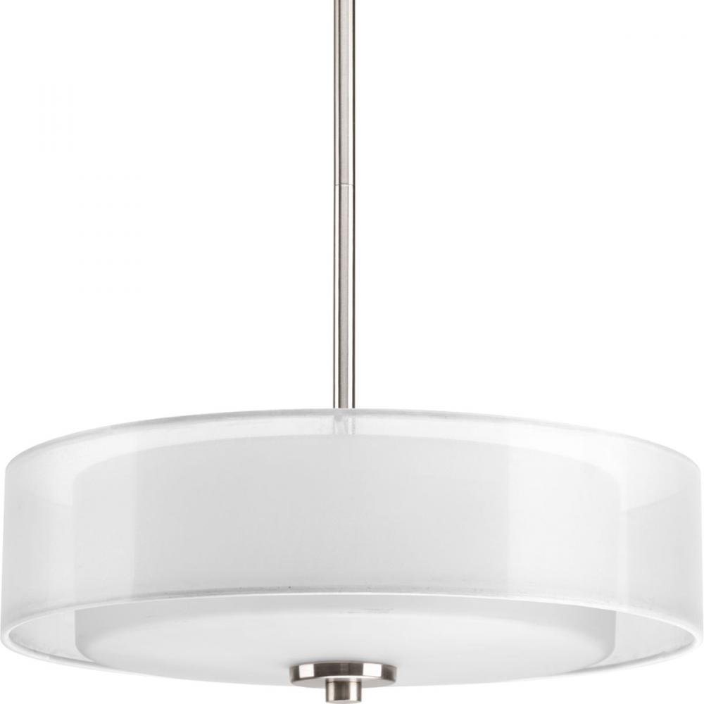 Three light brushed nickel white glass drum shade semi flush mount three light brushed nickel white glass drum shade semi flush mount arubaitofo Images