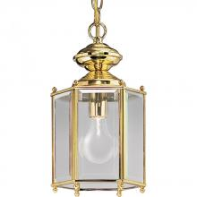Progress P5834-10 - One Light Clear Beveled Glass Polished Brass Hanging Lantern