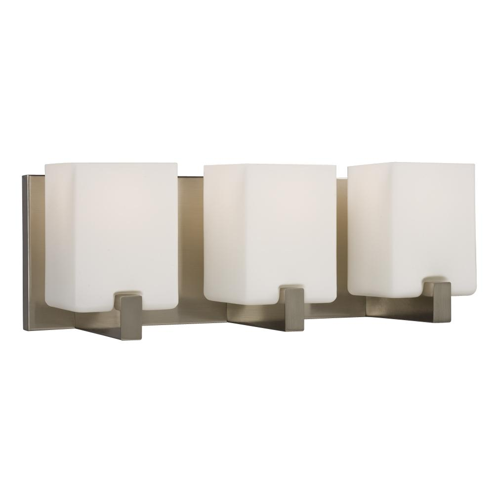 3-Light Vanity Light - Brushed Nickel with Square White Opal Glass ...:3-Light Vanity Light - Brushed Nickel with Square White Opal Glass Shades :  70HEL | Norburn Lighting & Bath,Lighting