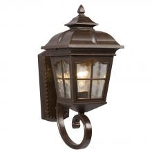 Galaxy Lighting 320287BZ - 1-Light Outdoor Wall Mount Lantern - Bronze with Clear Water Glass