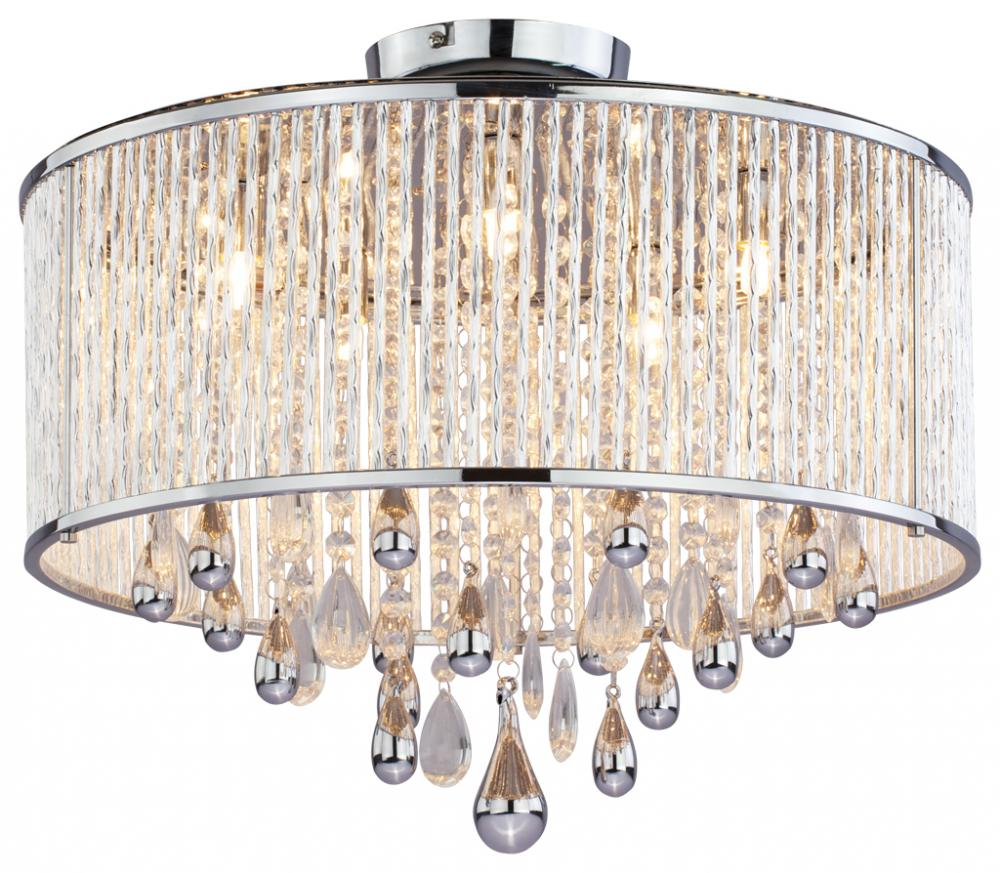 light products large dar pluto mount flush ceiling crystal chrome deatil polished