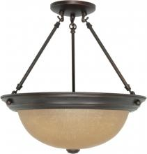 "Nuvo 60/1261 - 3 Light  15""  SemiFlush  w/ Champagne Linen Washed Glass"