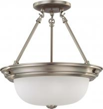 "Nuvo 60/3295 - 2 Light  13""  Semi-Flush w/ Frosted White Glass - (2) 13w GU24 Lamps Included"