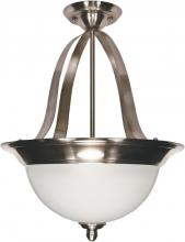 "Nuvo 60/621 - Palladium - 3 Light - 16"" - Pendant (Convertible) - w/ Satin Frosted Glass Shades"