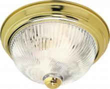 "Nuvo SF76/025 - 2 Light - 13"" - Flush Mount - Clear Ribbed Swirl Glass"
