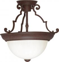 "Nuvo SF76/436 - 2 Light - 13"" - Semi-Flush Dome - Frosted Melon Glass"