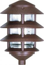 Nuvo SF76/633 - Pagoda Garden Fixture; Small Hood; 1 light; 3 Louver; Old Bronze Finish