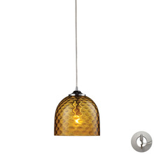 ELK Lighting 31080/1AMB-LA - Viva 1 Light Pendant In Polished Chrome And Amber Glass - Includes Recessed Lighting Kit