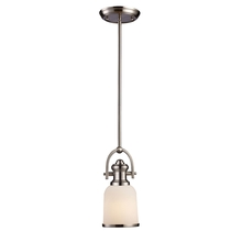 ELK Lighting 66161-1 - Brooksdale 1 Light Pendant In Satin Nickel With White Glass