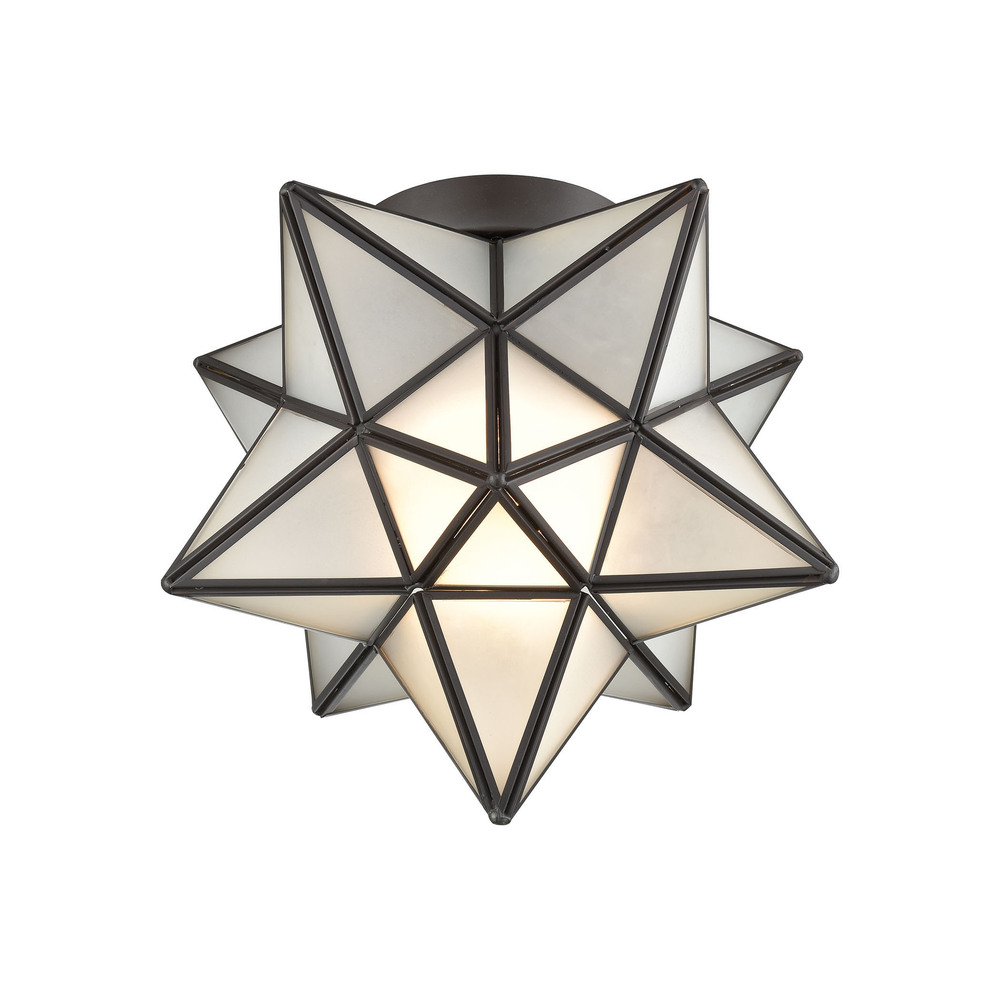 Moravian Star 1-Light Flush Mount in Oil Rubbed Bronze ...