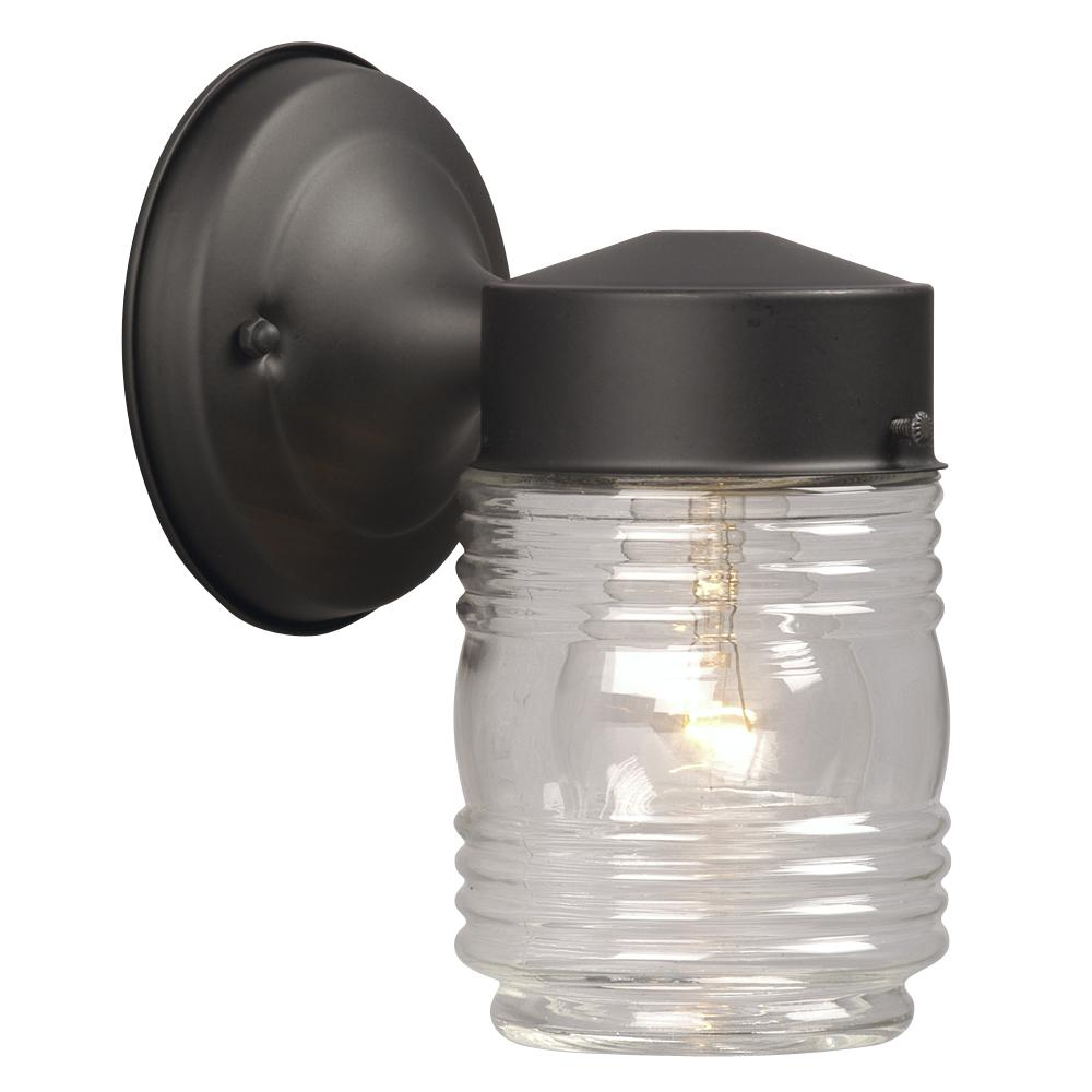 Jelly jar outdoor light fixture iron blog outdoor wall fixture black w clear jam jar glass 6ua89 arubaitofo Image collections